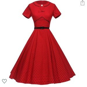 Adorable Red and Black Vintage 1950s Dress
